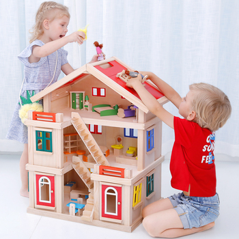 Onshine Happy family wooden toy DIY dollhouse with colorful dolls & furnitures kids pretend play large doll house