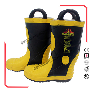 Fire and rescue rubber fire fighting safety boots with steel toecap fireproof shoes
