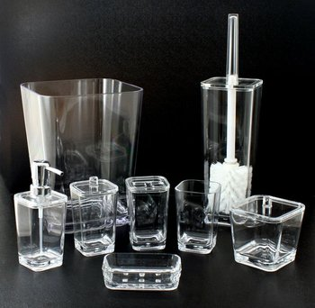 Clear round corner square bathroom accessories buy clear for Clear bathroom accessories