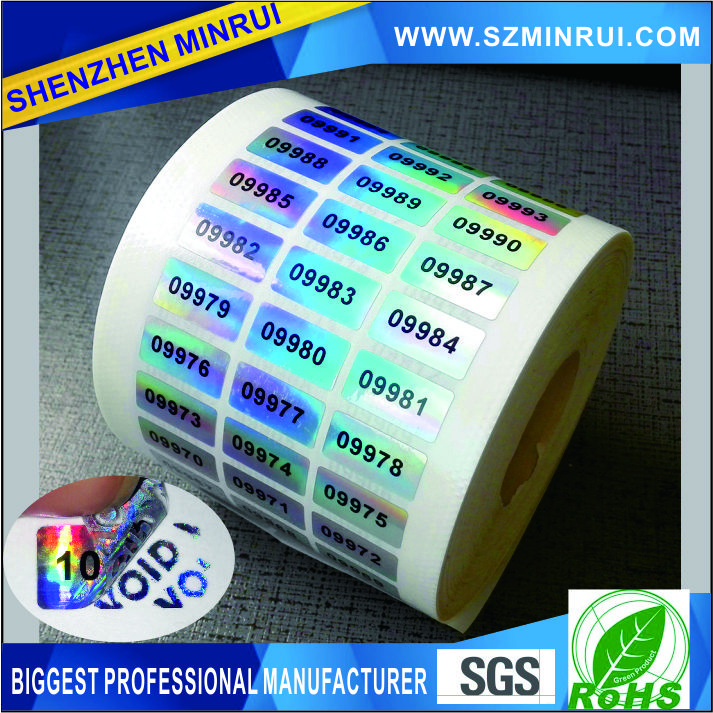 custom holographic tamper proof serial number VOID labels/ serial number VOID stickers