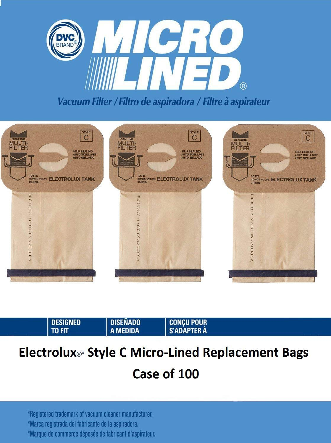 DVC Micro-Lined DVC Created Electrolux Style C Bags. Allergy Micro filtration Vacuum Bags. Case of 100