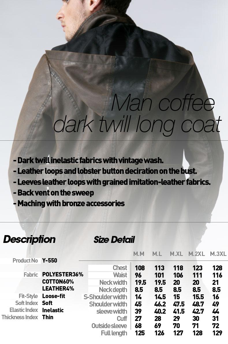 Y-550 Winter vintage metallic bronze belt stylish men hooded long coat