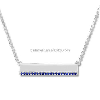 Personalized Custom 925 Sterling Silver Box Chain Sapphire CZ Bar Necklace For Women