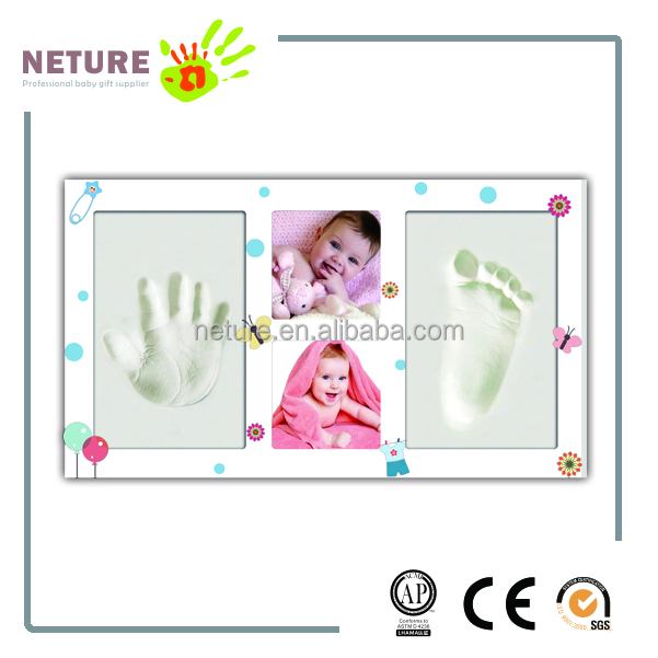 Hot sale clay handprint frame and footprint kit cute baby keepsake photo frame 3d memory frame clay imprint kit