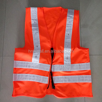 rechargeable led flashing safety vest with pocket