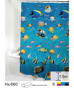 Factory Sale PEVA PVC Waterproof Custom Sea Cartoon Kids Transparent Cartoon Led Bath Shower Curtain