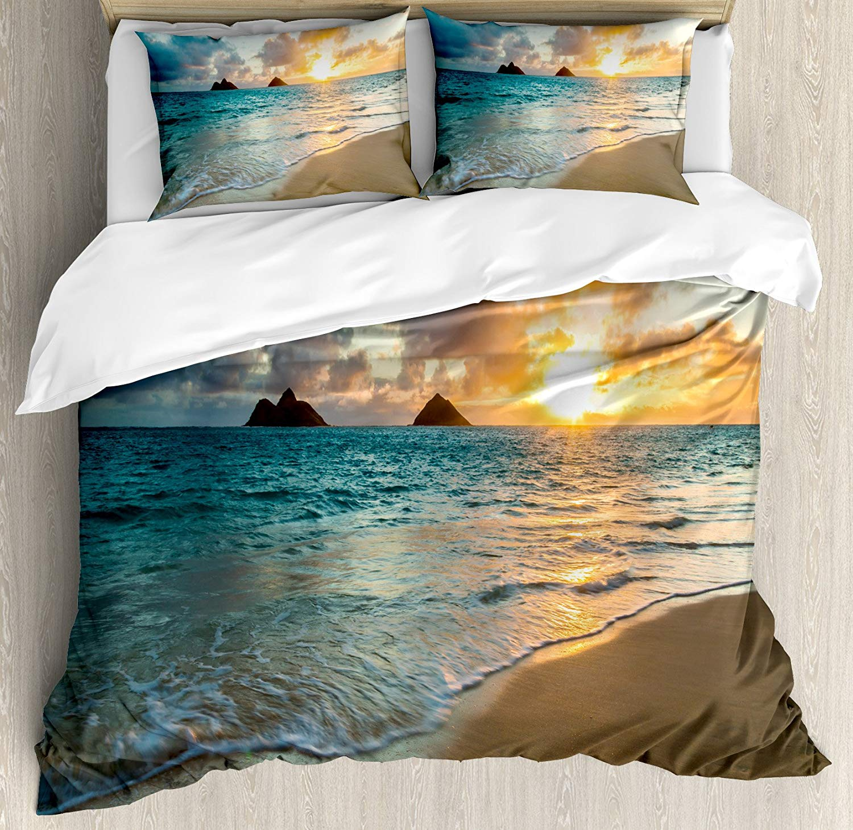 Ambesonne Hawaiian Duvet Cover Set King Size, Scenic Sunrise Over Ocean Rocks Sand Clouds Sunshine Tide Sunbeam Seashore, Decorative 3 Piece Bedding Set with 2 Pillow Shams, Yellow Turquoise