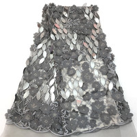 Newest French 3d Flower Embroidered Silver Grey African Sequin Tulle Lace Fabric for Wedding