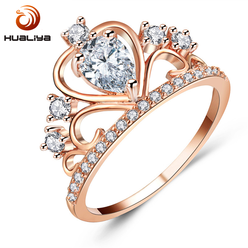 Heart Crown Rings For Women Cubic Zirconia Ring Female Engagement Wholesale jewellery