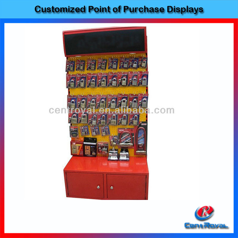 Hot sale metal locks display shelves for retail stores