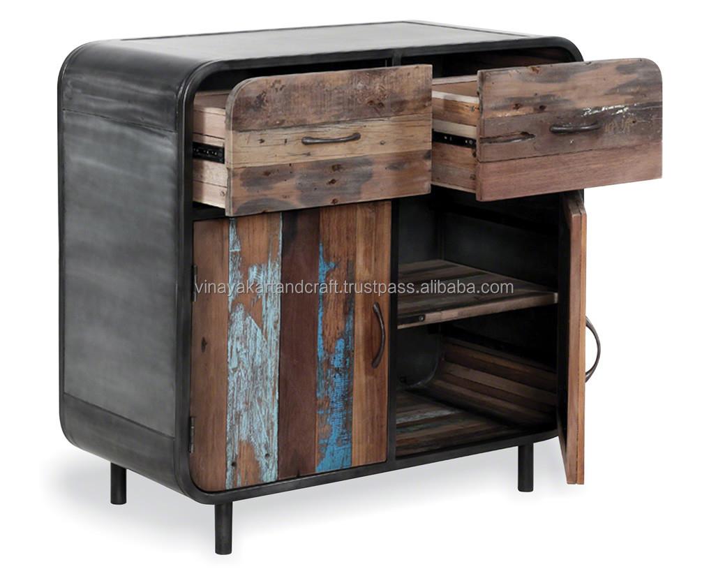 Vintage Industrial 2 Drawer 2 Door Cabinet In Reclaimed Wood And ...
