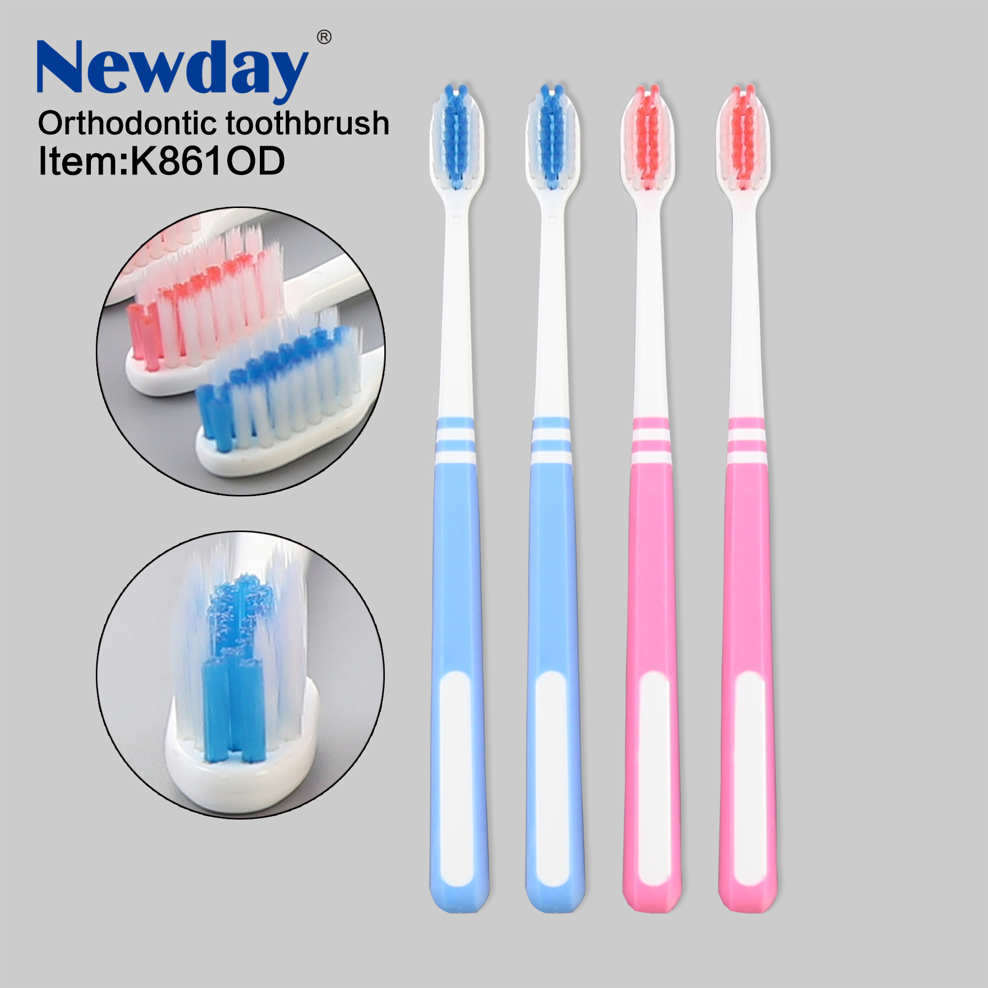 Good Designed Orthodontic Toothbrush with Nylon medium and soft filaments