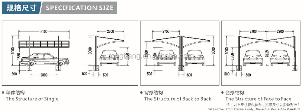 Double basic arched polycarbonate sheet roof cantilever for Carport detail