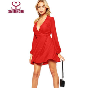 Simple dress design red chiffon V neckline long sleeve party dress