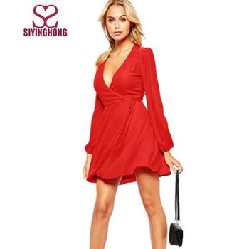 Design Simples Vestido Vermelho Chiffon Decote V Manga Longa Vestido De Festa Buy Design Simples Vestido Decote Vred Chiffon Vestidovestido De
