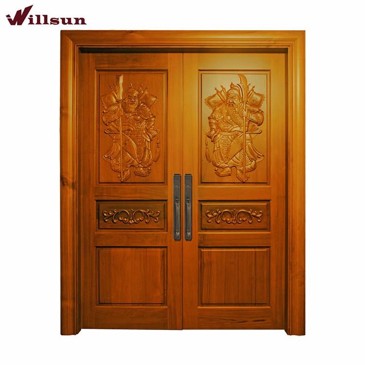 Luxury Villa Front Main Entry Double Door Embossed Carving Wood
