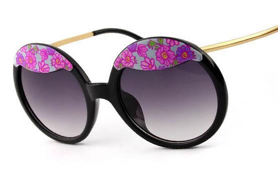 9c514918f2 Get Quotations · new vintage round sunglasses women brand round frame  flower print tinted Sun lenses Oculos de sol