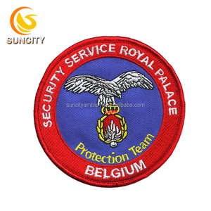 Customized security service royal palace for Belgium with iron on merrow border embroidery patch