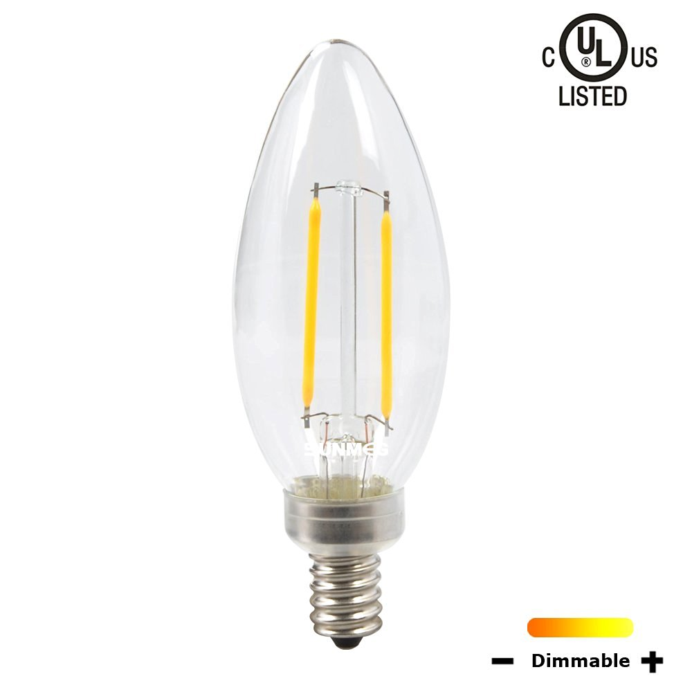 SUNMEG Dimmable B11 2W E12 Base Candelabra LED, LED Filament Bulb, 2700K Warm White, 360 Degree Beam Angle, Equivalent to 20W Incandescent