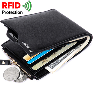 famous brand men's money wallet purses Theft Protec coin bag zipper RFID wallet