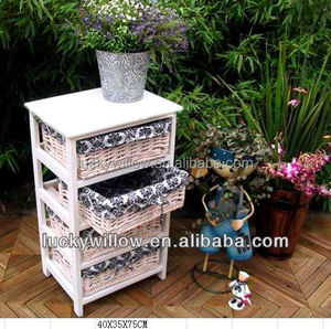 100% willow and wood material hand made cheap white wicker furniture with wicker basket drawer