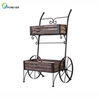American Country Retro Old Wrought Iron Wood Float Decoration Frame Fleshy Flower Balcony Outdoor Shop Window Car