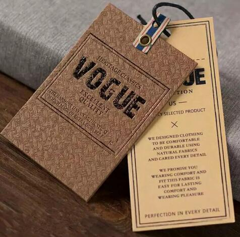 Custom 2 sides printed die cut cardboard hang tags for clothing