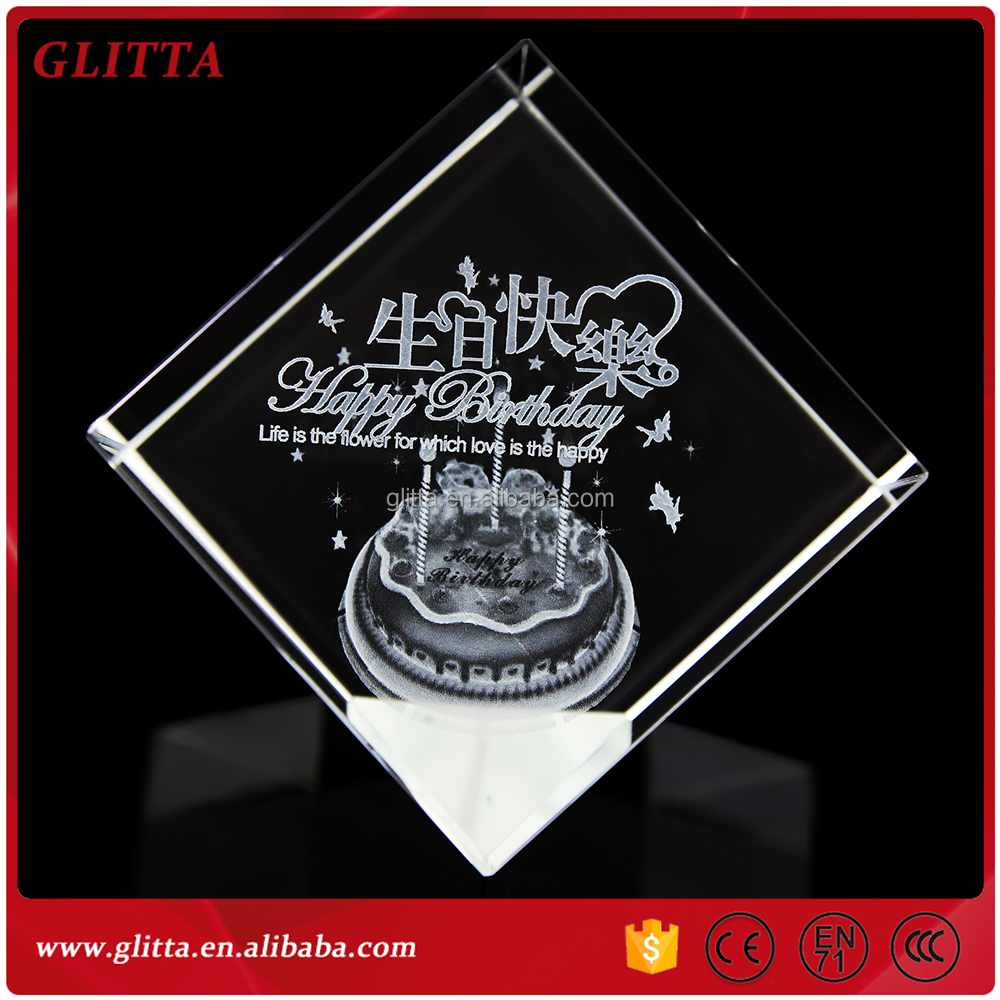 WT045 Birthday gift 3D laser engraving crystal cube,crystal glass cube for table decoration