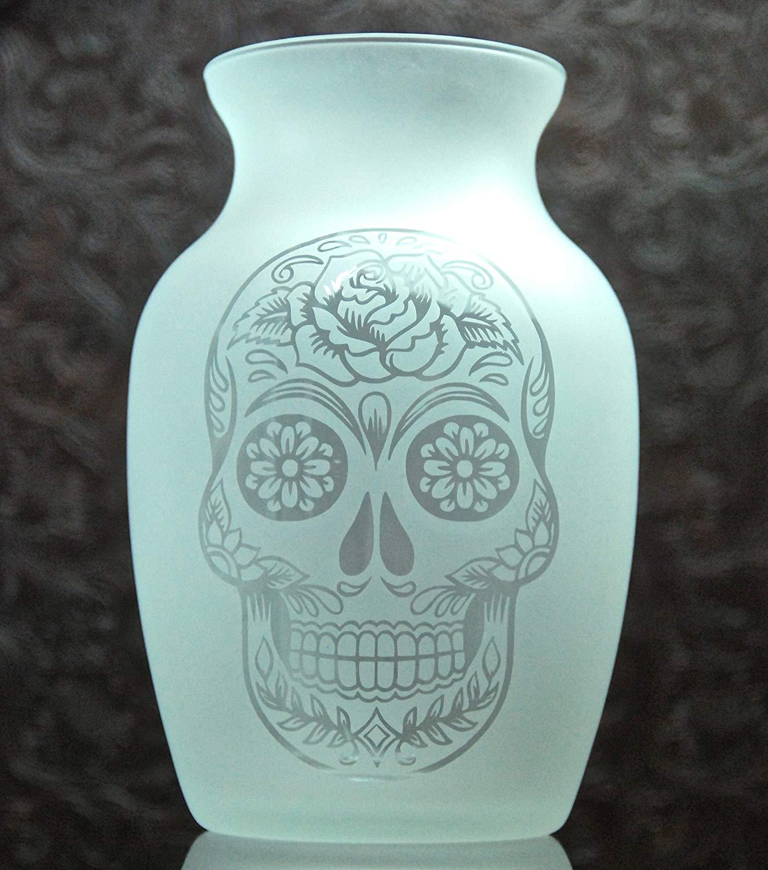 7.5 Inch Glass Etched Sugar Skull Vase - Design 3