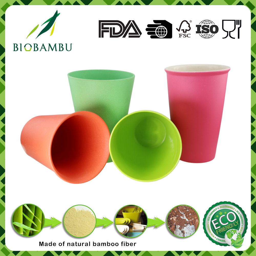Different size color biological green carton fiber cup bamboo melamine mug set