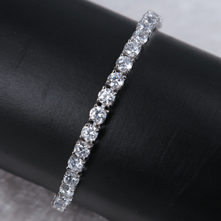 Solid Pure Chunky 925 Sterling Silver Round Cz Diamond Tennis Bracelet  Womens - Buy 925 Sterling Silver Tennis Bracelet,925 Silver Cz Bracelet,925