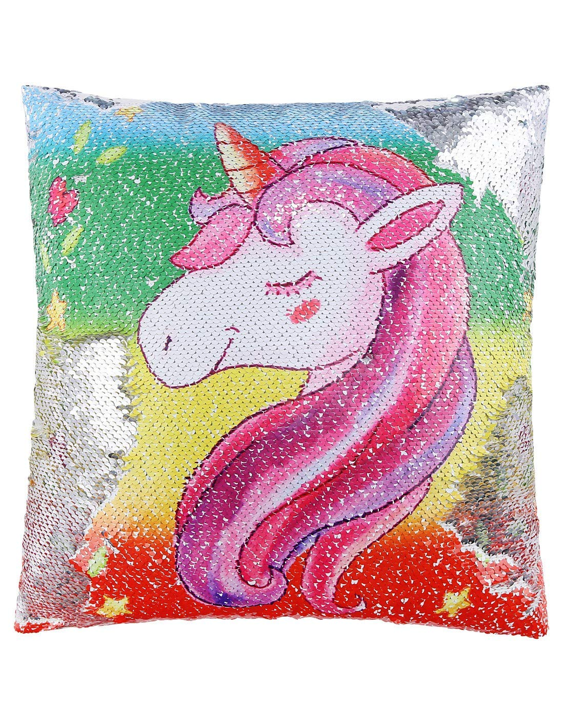 b18a169b5 Get Quotations · ANKIT Mermaid Unicorn Sequin Pillow Reversible Pillow That  Changes Color - Rainbow Pink Unicorn