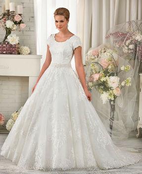 newest designer round neck cap sleeve lace ball gown wedding dress islam