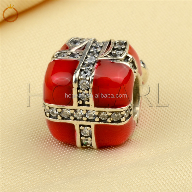 LHB02 Antique Style Red Giftbox Large Hole Beads 925 Sterling Silver Charms for Bracelet DIY Making