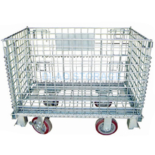 Warehouse storage industrial wire mesh basket with 4 wheels