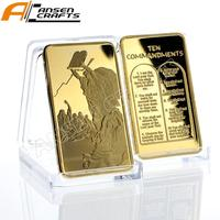 Religious Gift Christian One Troy Ounce Gold Clad Art Bar Ten Commandments Gold Clad Bullion Bar