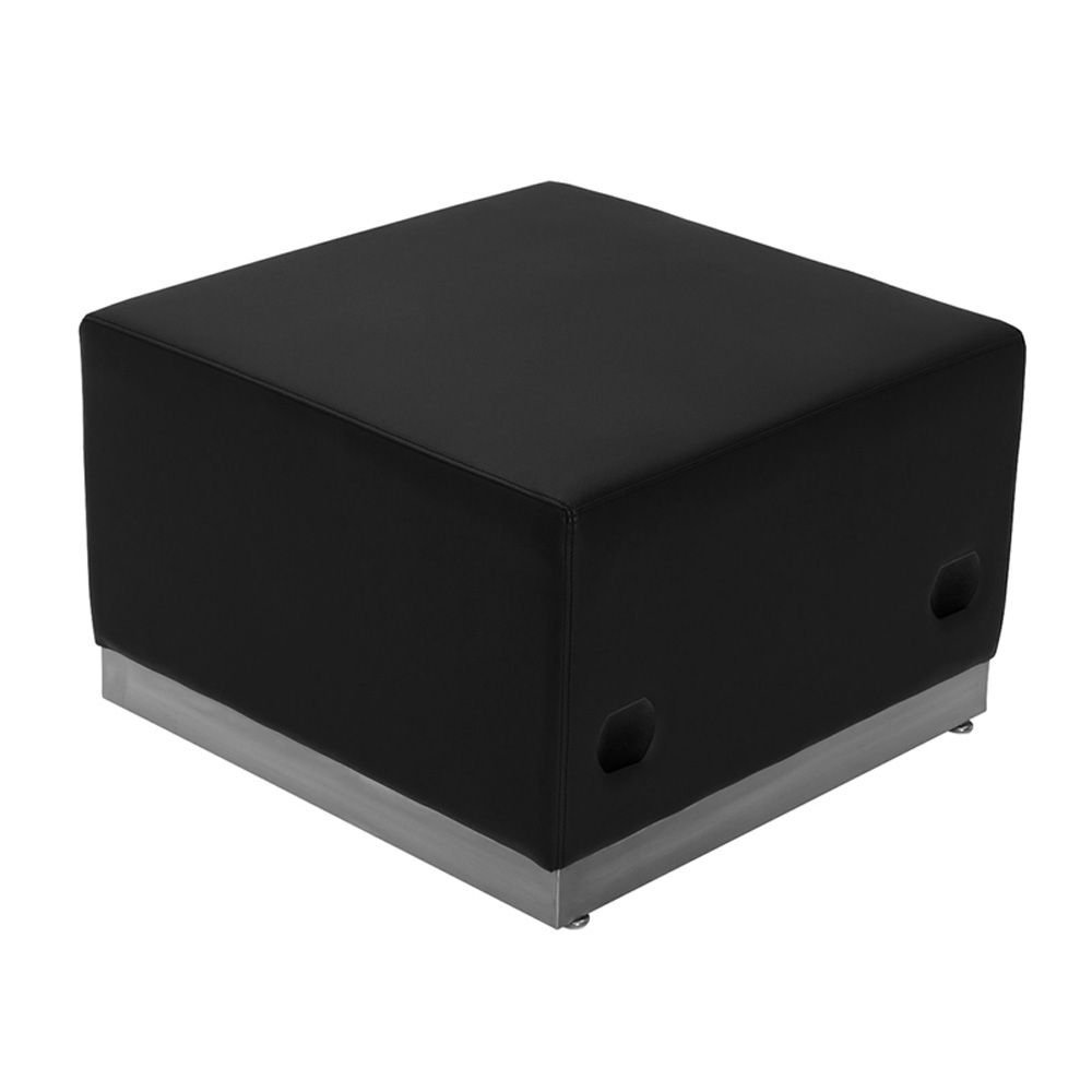 "Alon Series Bonded Leather Modular Reception Ottoman Dimensions: 25.50""W x 25.25""D x 16""H Black Bonded Leather/Brushed Stainless Steel Base"