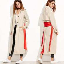 Apricot Back Flap Trench Coat With Sash Belt dust coat ladies long coat design