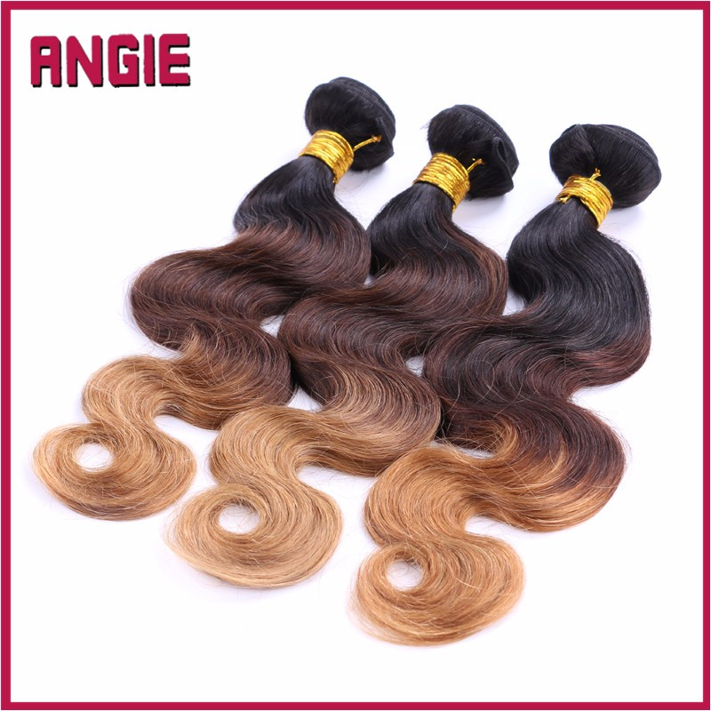 Factory price Three Tone Color Ombre Hair extension 1B/4/27 color brazilian hair weft
