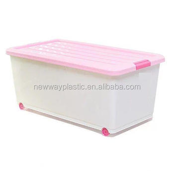 Large Plastic Storage Box Pp Bins With Lid Wheels For Food Clothing
