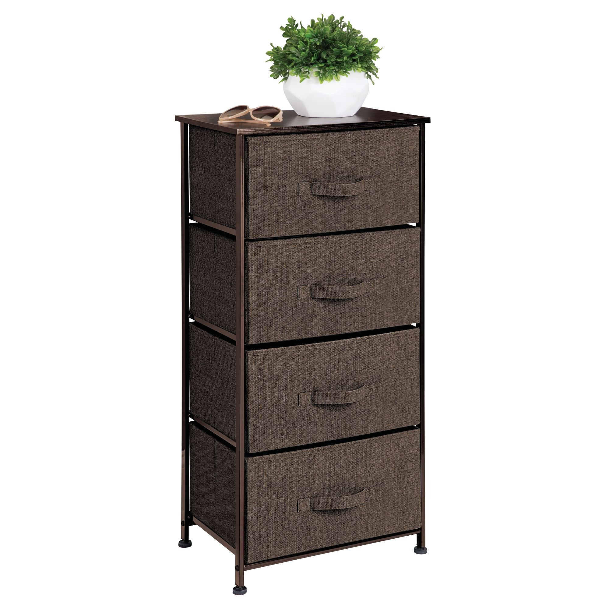 mDesign Fabric 4-Drawer Dresser and Storage Organizer Unit for Bedroom, Dorm Room, Apartment, Small Living Spaces - Espresso