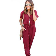 Groothandel Office Rompertjes Vrouwen Zomer V-hals Tied Taille Sexy Party Playsuit formele Overalls Zakken Jumpsuit