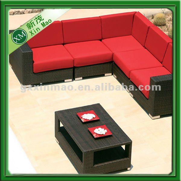 roten kissen jardin kunststoff rattan gartenm bel set im garten produkt id 641976339 german. Black Bedroom Furniture Sets. Home Design Ideas