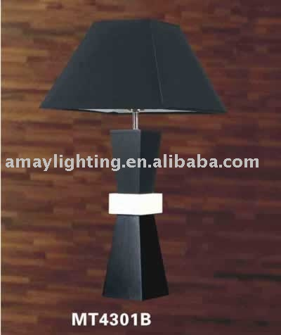 Wooden Base Table Lamps India With Black Fabric Shade Mt4301b ...