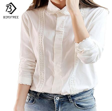 White <strong>Blouse</strong> Women Work Wear Cotton <strong>Lace</strong> Embroidery Turn-Down Collar Long Sleeve Tops Shirt S-XXL Blusas Femininas T92405R