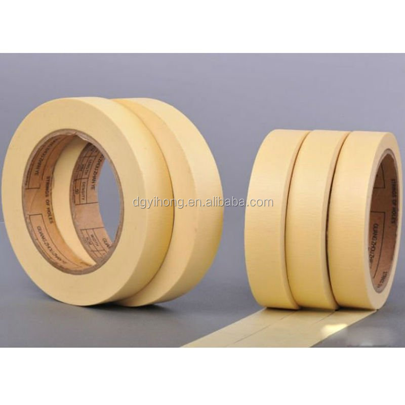 SGS appproved single side rubber adhesive crepe paper nylon masking tape with factory provide