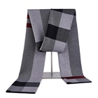 Long warm pashmina wool cotton knitted instant male scarf shawl with stripe