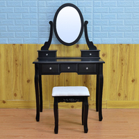D1721 kids dressers vanity makeup desk lighted makeup vanity table modern black mirrored dressing table dresser play set