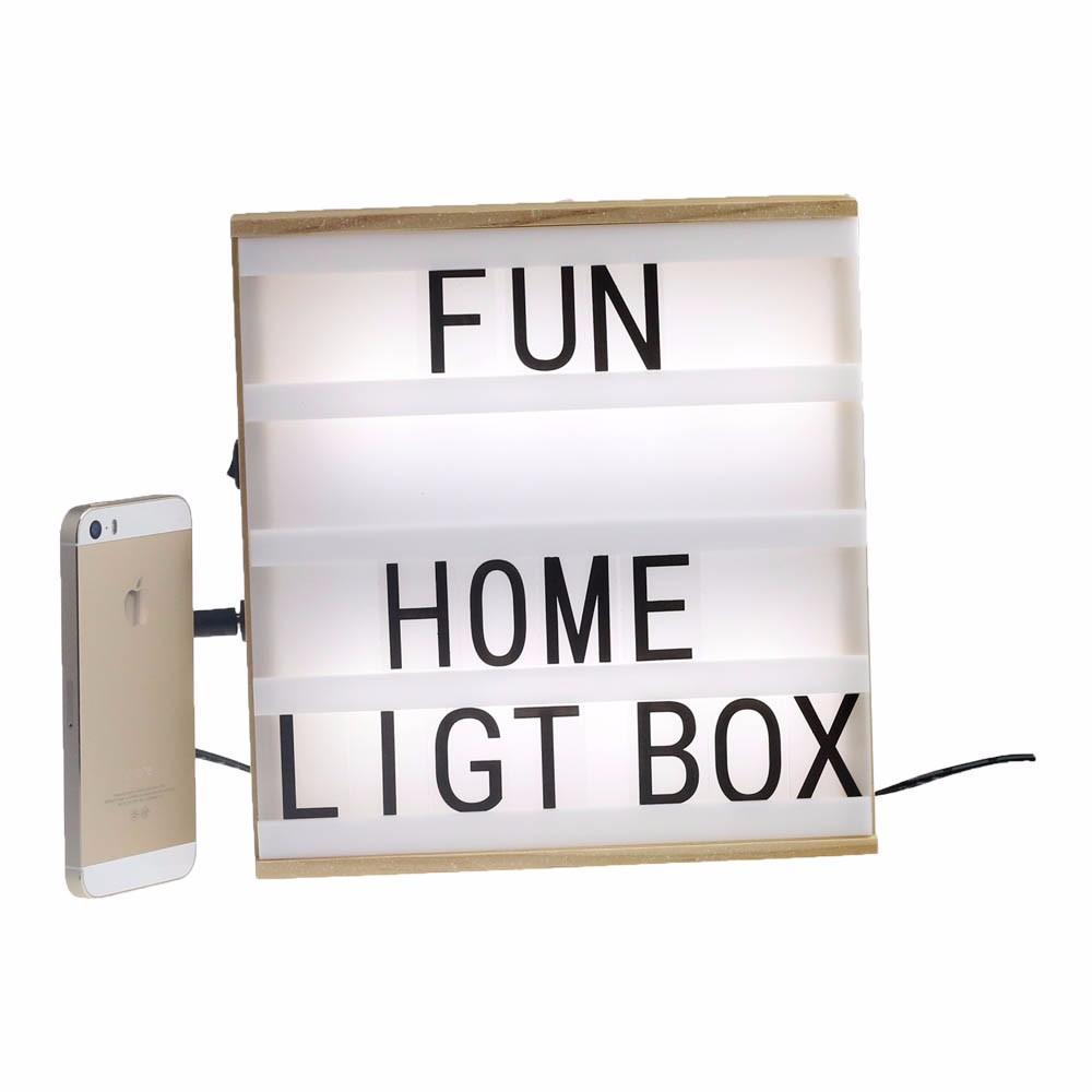 Wood Color A5 Wooden Frame Cinema Light Box,4 Lines,Letters ...