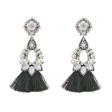 Tassel Design Pearl Crystal Simple Jewelry White Stone Stud Earrings